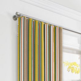 Yellow & Taupe Stripe Ripplefold Curtains Close Up