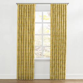 Modern Yellow Trellis Ripplefold Curtains Close Up