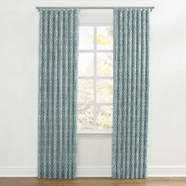 Modern Teal Trellis Ripplefold Curtains Close Up