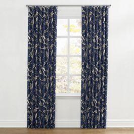 Navy Blue Floral & Bird Ripplefold Curtains Close Up