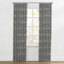 Black & White Trellis Ripplefold Curtains Close Up