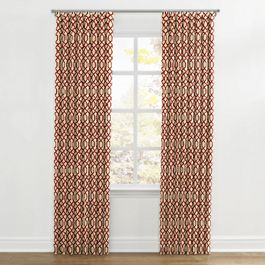 Flocked Tan & Red Trellis Ripplefold Curtains Close Up