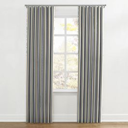Gray, Teal & Blue Stripe Ripplefold Curtains Close Up