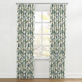 Jacobean Blue Floral Ripplefold Curtains Close Up