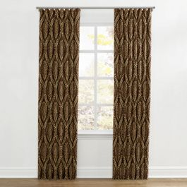 Brown Medallion Trellis Ripplefold Curtains Close Up