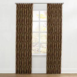 Brown Medallion Trellis Ripplefold Curtains Close Up