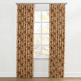 Beige & Red Suzani Ripplefold Curtains Close Up