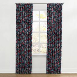 Red & Navy Blue Suzani Ripplefold Curtains Close Up