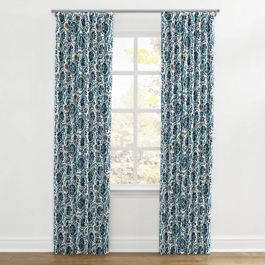 Beige & Blue Suzani Ripplefold Curtains Close Up