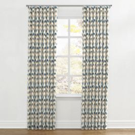 Tan & Blue Flame Stitch Ripplefold Curtains Close Up