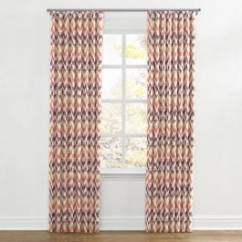 Orange & Pink Flame Stitch Ripplefold Curtains Close Up