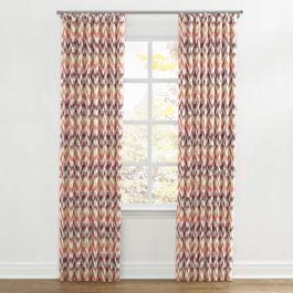 Orange & Pink Flame Stitch Ripplefold Curtains Close Up