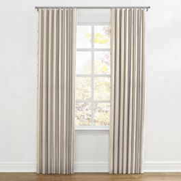 Blue Burlap-Style Stripe Ripplefold Curtains Close Up