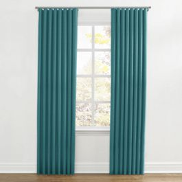 Dark Teal Linen Ripplefold Curtains Close Up