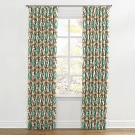 Handwoven Tan & Teal Ikat Ripplefold Curtains Close Up