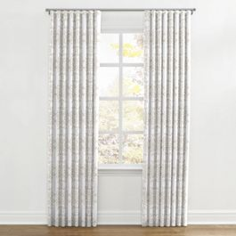 Light Tan & White Scroll Ripplefold Curtains Close Up