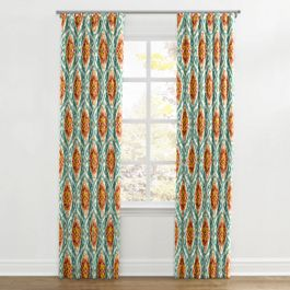 Turquoise & Red Ikat Medallion Ripplefold Curtains Close Up