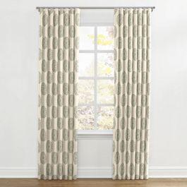 Aqua Medallion Block Print Ripplefold Curtains Close Up