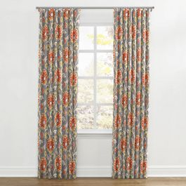 Coral & Gray Floral Ripplefold Curtains Close Up