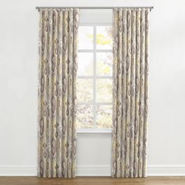 Pastel Yellow & Gray Ikat Ripplefold Curtains Close Up