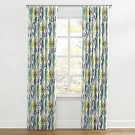 Aqua, Blue & Green Ikat Ripplefold Curtains Close Up
