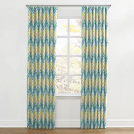 Gray, Green & Blue Chevron Ripplefold Curtains Close Up