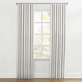 Light Beige Awning Stripe Ripplefold Curtains Close Up