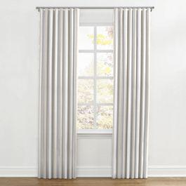 Light Beige Awning Stripe Ripplefold Curtains Close Up