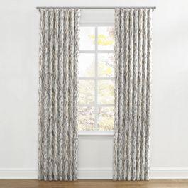 Tan & Gray Faux Bois Ripplefold Curtains Close Up