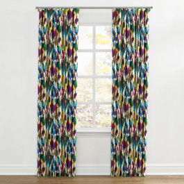 Multicolor Watercolor Ripplefold Curtains Close Up