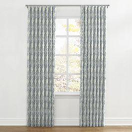 Blue Diamond Block Print Ripplefold Curtains Close Up