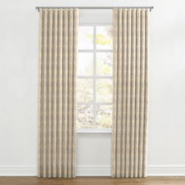 Beige Diamond Block Print Ripplefold Curtains Close Up