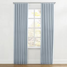 Blue Ticking Stripe Ripplefold Curtains Close Up
