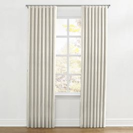 Tan & Brown Chalk Line Ripplefold Curtains Close Up