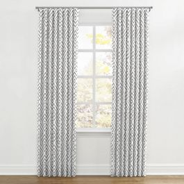 White & Gray Diamond Ripplefold Curtains Close Up