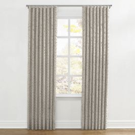 Taupe Geometric Maze Ripplefold Curtains Close Up
