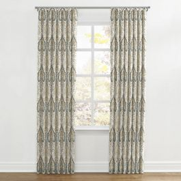 Gray & Tan Paisley Ripplefold Curtains Close Up
