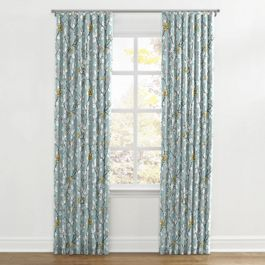 Modern Aqua Floral Ripplefold Curtains Close Up