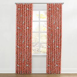 Red Animal Motif Ripplefold Curtains Close Up