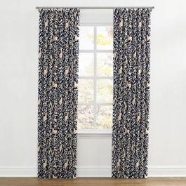 Navy Blue Animal Motif Ripplefold Curtains Close Up