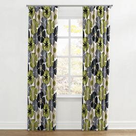 Modern Gray & Green Floral Ripplefold Curtains Close Up