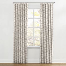 Embroidered Taupe Scallop Ripplefold Curtains Close Up