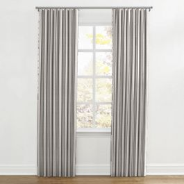 Rustic Gray Stripe Ripplefold Curtains Close Up