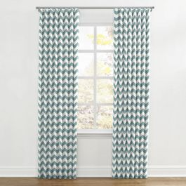 White & Blue Chevron Ripplefold Curtains Close Up