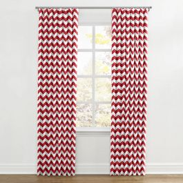 White & Red Chevron Ripplefold Curtains Close Up