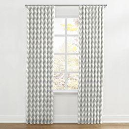 Light Gray Chevron Ripplefold Curtains Close Up