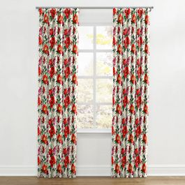 Bold Green & Red Floral Ripplefold Curtains Close Up
