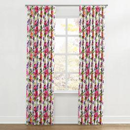 Chintz-like Pink Floral Ripplefold Curtains Close Up