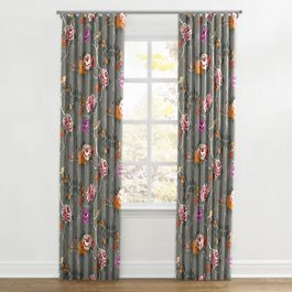 Painterly Pink & Gray Floral Ripplefold Curtains Close Up