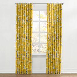 Purple & Yellow Chinoiserie Ripplefold Curtains Close Up
